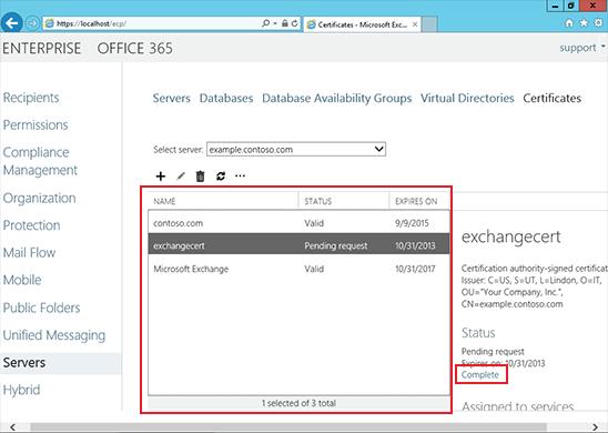 Install an SSL Certificate on an Exchange 2013 server step 6